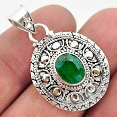 3.14cts natural green emerald 925 sterling silver pendant jewelry t42954