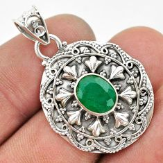 3.23cts natural green emerald 925 sterling silver pendant jewelry t42969