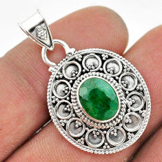 3.11cts natural green emerald 925 sterling silver pendant jewelry t42971