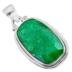 13.70cts natural green emerald 925 sterling silver pendant jewelry t47201