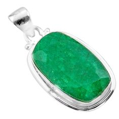 14.23cts natural green emerald 925 sterling silver pendant jewelry t47205