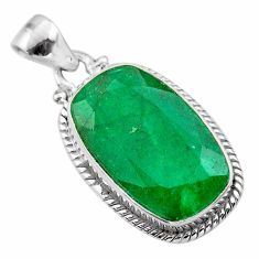 14.47cts natural green emerald 925 sterling silver pendant jewelry t47215