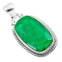 14.57cts natural green emerald 925 sterling silver pendant jewelry t47216