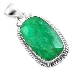 14.52cts natural green emerald 925 sterling silver pendant jewelry t47220