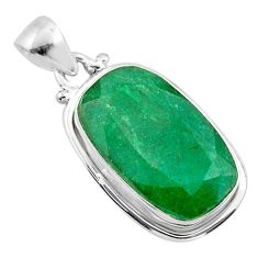 15.08cts natural green emerald 925 silver handmade pendant jewelry t47222