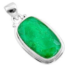 15.08cts natural green emerald 925 sterling silver pendant jewelry t47237