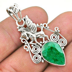 5.79cts natural green emerald 925 sterling silver unicorn pendant jewelry t40810