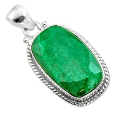 13.10cts natural green emerald octagan 925 sterling silver pendant t47208