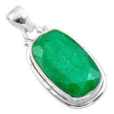 15.18cts natural green emerald octagan 925 sterling silver pendant t47223