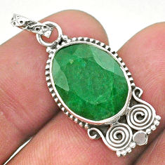 8.51cts natural green emerald oval 925 sterling silver pendant jewelry t40850