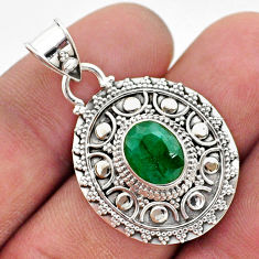 3.13cts natural green emerald oval 925 sterling silver pendant jewelry t42951