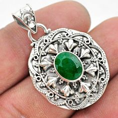 3.28cts natural green emerald oval 925 sterling silver pendant jewelry t42952