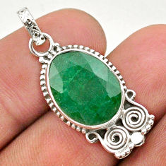 7.96cts natural green emerald pear 925 sterling silver pendant jewelry t40833
