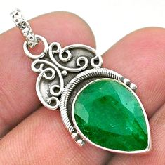 8.34cts natural green emerald pear 925 sterling silver pendant jewelry t40845