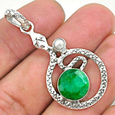 5.53cts natural green emerald pearl 925 sterling silver snake pendant t35509