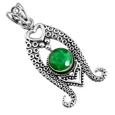 3.41cts natural green emerald round 925 sterling silver pendant jewelry r19565