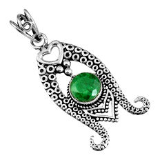 3.28cts natural green emerald round 925 sterling silver pendant jewelry r19567