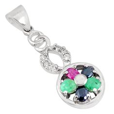 3.29cts natural green emerald sapphire 925 sterling silver pendant c23512