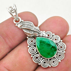 6.01cts natural green emerald sterling silver seashell pendant jewelry t40796