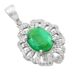 5.54cts natural green emerald topaz 925 sterling silver pendant jewelry c18094