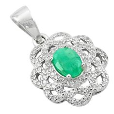 3.47cts natural green emerald topaz 925 sterling silver pendant jewelry c18117