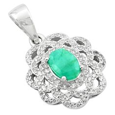 Natural green emerald topaz 925 sterling silver pendant jewelry c18115
