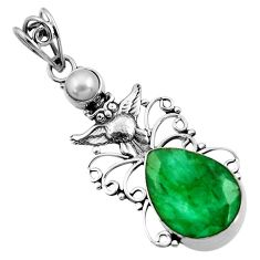 11.66cts natural green emerald white pearl 925 silver owl pendant d43872