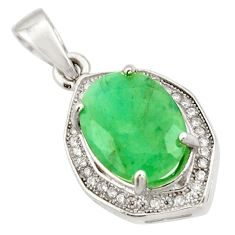 5.84cts natural green emerald white topaz 925 sterling silver pendant c9993