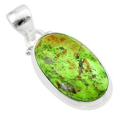 10.78cts natural green gaspeite 925 sterling silver pendant jewelry t54721