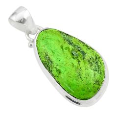 14.98cts natural green gaspeite 925 sterling silver pendant jewelry t54722