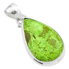 13.55cts natural green gaspeite 925 sterling silver pendant jewelry t54724