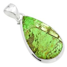 15.08cts natural green gaspeite 925 sterling silver pendant jewelry t54725