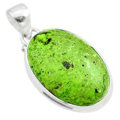 14.10cts natural green gaspeite 925 sterling silver pendant jewelry t54727