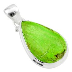 12.60cts natural green gaspeite 925 sterling silver pendant jewelry t54735