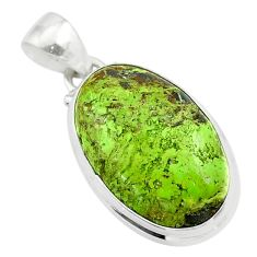 15.65cts natural green gaspeite 925 sterling silver pendant jewelry t54736