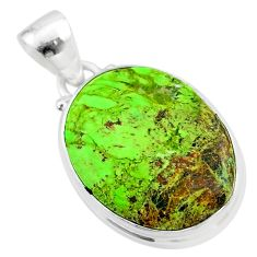 12.55cts natural green gaspeite 925 sterling silver pendant jewelry t54739