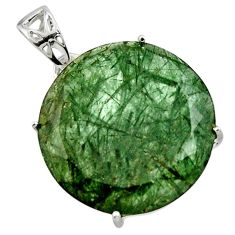 20.76cts natural green golden rutile 925 sterling silver pendant jewelry r48791