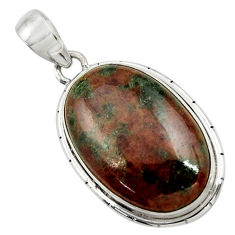 Clearance Sale- 19.68cts natural green grass garnet 925 sterling silver pendant jewelry d41576