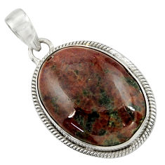 Clearance Sale- 29.93cts natural green grass garnet 925 sterling silver pendant jewelry d41578