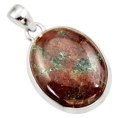 Clearance Sale- 29.93cts natural green grass garnet 925 sterling silver pendant jewelry d42396