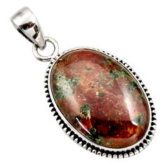 Clearance Sale- 19.23cts natural green grass garnet 925 sterling silver pendant jewelry d42398