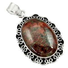 25.19cts natural green grass garnet 925 sterling silver pendant jewelry r30540