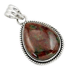 19.80cts natural green grass garnet 925 sterling silver pendant jewelry r31922