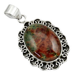 19.00cts natural green grass garnet 925 sterling silver pendant jewelry r31923