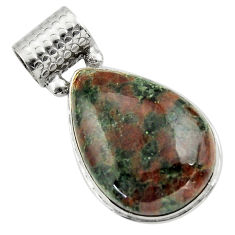 26.16cts natural green grass garnet 925 sterling silver pendant jewelry r31926