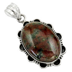 20.65cts natural green grass garnet 925 sterling silver pendant jewelry r31927