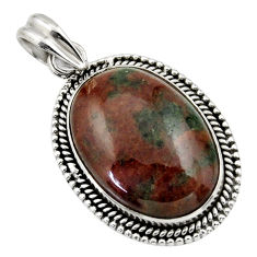 22.23cts natural green grass garnet 925 sterling silver pendant jewelry r31928