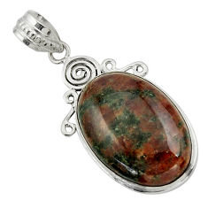 20.15cts natural green grass garnet 925 sterling silver pendant jewelry r31930