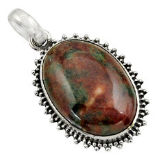 21.20cts natural green grass garnet 925 sterling silver pendant jewelry r31931