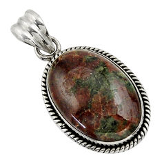 19.72cts natural green grass garnet 925 sterling silver pendant jewelry r31940